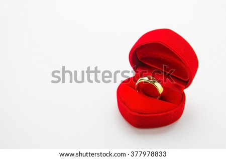 box with a golden ring, marriage proposal isolated