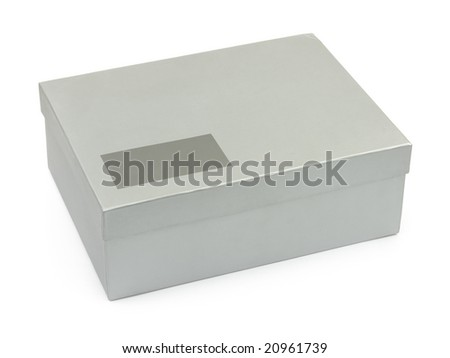 Box with blank label isolated on white background