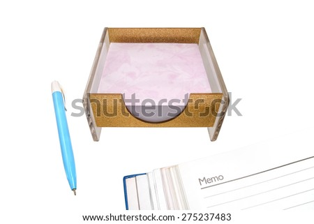Box with blank sticky paper on white isolated background with clipping path.