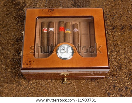 Box with cigar.The Best sort.Reliable keeping - stock photo