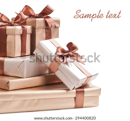 box with gifts and bow isolated - stock photo