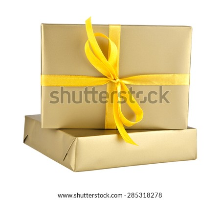 box with gifts isolated on a white background - stock photo
