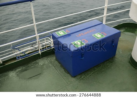 Box with lifejackets on board - stock photo