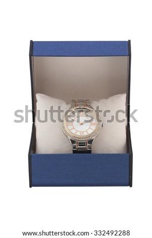 Box with luxury watch - stock photo