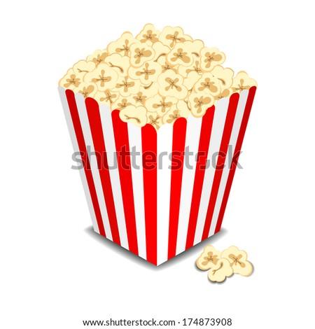 Box with popcorn. Raster version  - stock photo