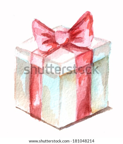box with red ribbon on white background - stock photo