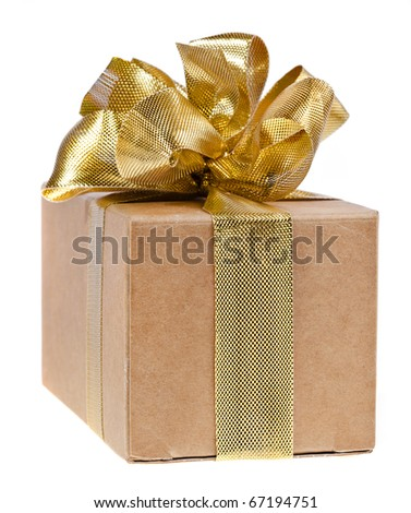 box with  ribbon bow isolated on white - stock photo