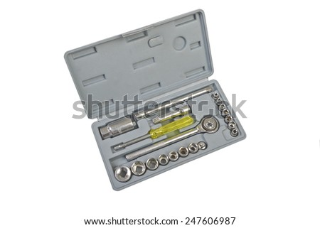 Box with tools on a white background