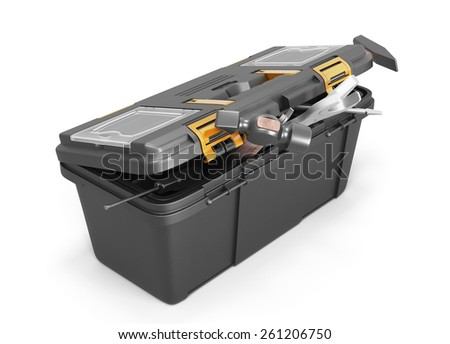 Box with tools on a white backgrpund. 3d illustration. - stock photo