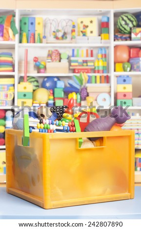 box with toys in room for children - stock photo