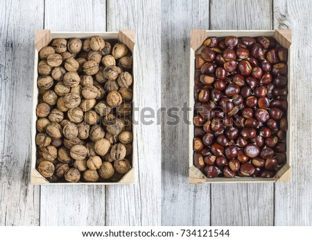 Box with walnuts and a box with chestnuts Collage