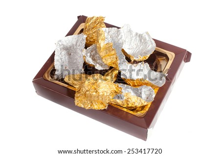 box with wrappers from chocolates - stock photo