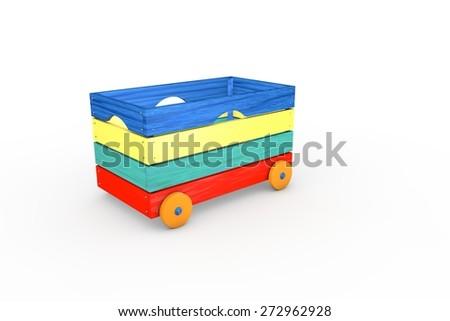 Box - Wooden toys - stock photo