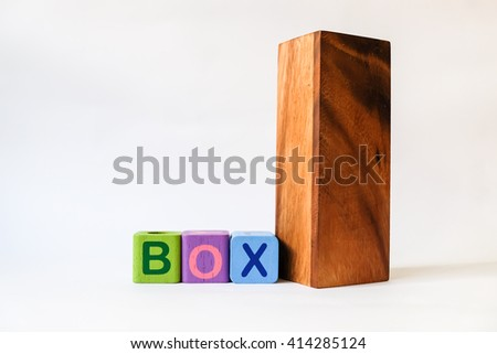 BOX word written on wood blocks, white background with copyspace - stock photo