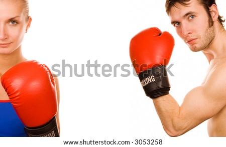 Boxer couple - stock photo