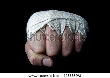 boxer fist punch on a white background - stock photo