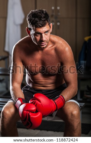 Boxer in the Locker Room