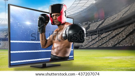 Boxer performing upright stance against composite image of boxing ring - stock photo