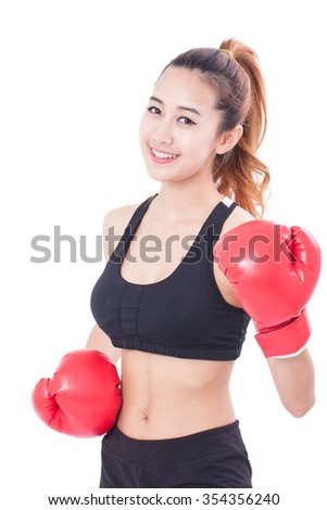 Boxer - Portrait of fitness woman boxing wearing boxing red gloves on white background.