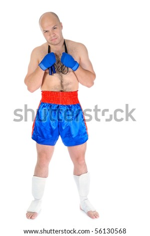 boxer with a skipping rope in his hands. Isolated on white background - stock photo