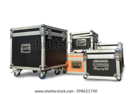 Boxes, cartons, aluminum casing for shock and damage protection for storage and transport isolated on white background. This has clipping path.