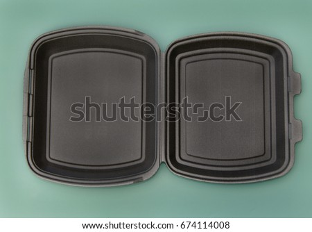 Boxes for food products made of polystyrene, rectangular in black, top view black, top view