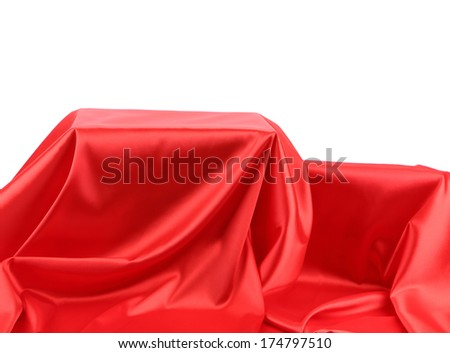 Boxes in red fabric. On a white background.