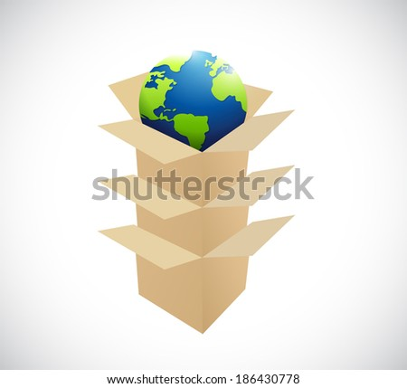 boxes inside boxes and globe. illustration design over a white background - stock photo