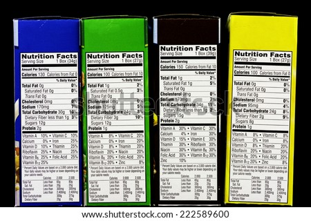 Boxes of cereal and health information labels - stock photo