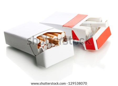 Boxes of cigarettes, isolated on a white - stock photo