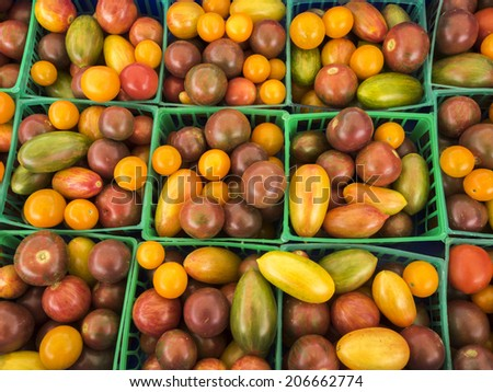 Boxes of fresh hot chili peppers at farm market. - stock photo