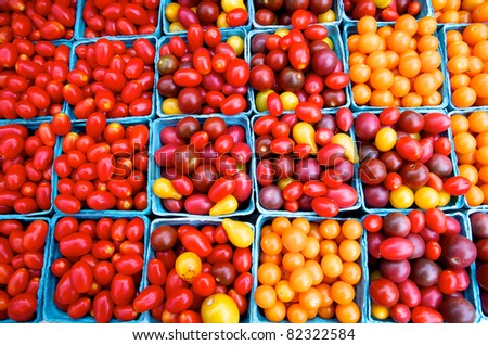 Boxes of golden cherry tomatoes at Virginia farm market
