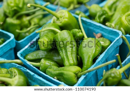 Boxes of hot green peppers at the farmers market - stock photo