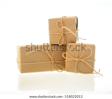 boxes of kraft paper isolated on white background