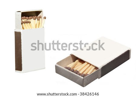 boxes of matches under the white background