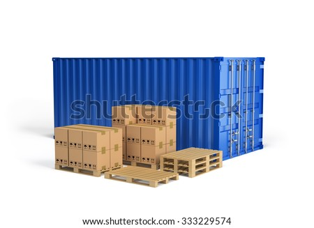 Boxes on wooden pallet and shipping container. 3d image. White background. - stock photo