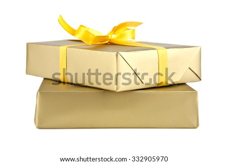 boxes with gifts on a white background