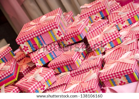 Boxes with presents, christmas, pink. party.