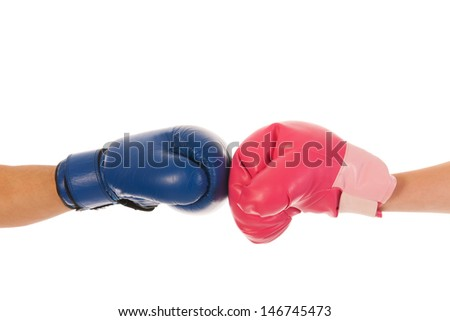 Boxing couple isolated over white background
