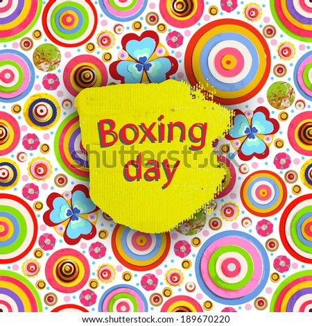 Boxing day. Offer tag, motivational background. Holiday Discount. Flowers made of acrylic, Watercolor, handmade, from original canvas art. Grunge paint banner with brush stroke effect. 3d shadows. - stock photo