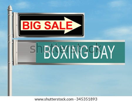 Boxing day. Road sign on the sky background. Raster illustration.