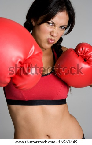 Boxing Girl - stock photo