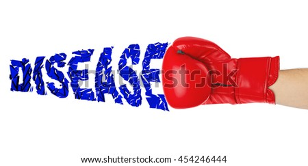 Boxing glove and word Disease isolated on white background - stock photo
