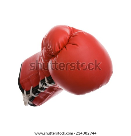 Boxing Glove as a Symbol for winning or losing isolated on white background - stock photo