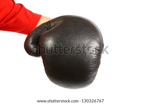 Boxing glove isolated on white hitting the camera