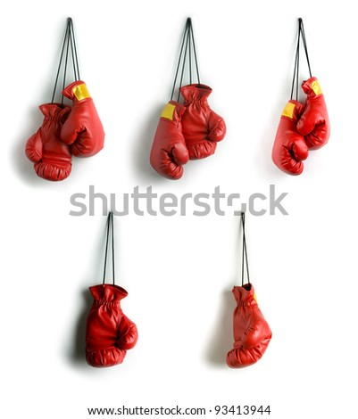 Boxing gloves collage - stock photo