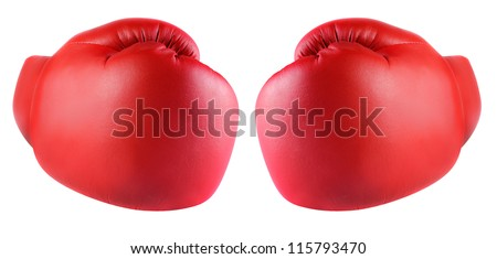 Boxing gloves isolated - stock photo
