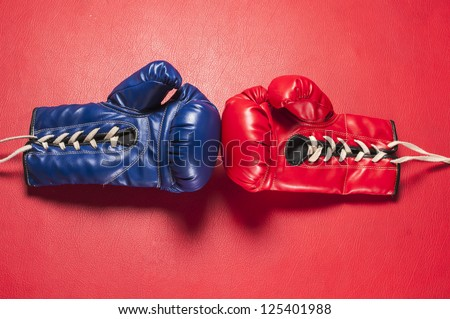 Boxing gloves series : Red & Blue gloves - stock photo