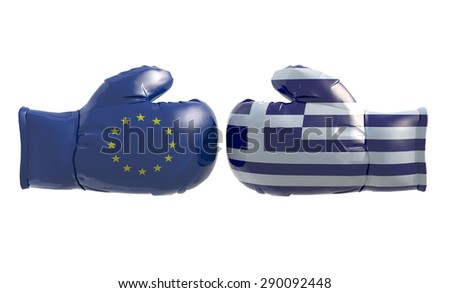 Boxing gloves with Euro and Greek flag, isolated 3d illustration - stock photo