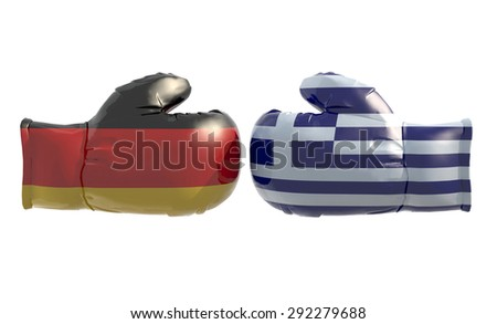 Boxing gloves with German and Greek flag, isolated 3d illustration - stock photo